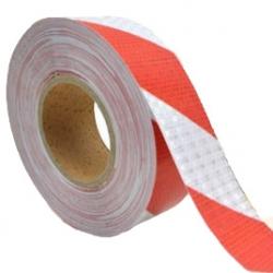 Refleks Type 4 Rød/Hvid Skråstribet 5 cm