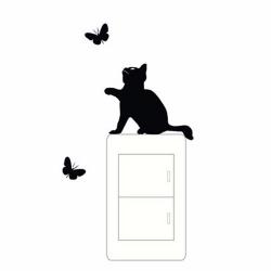 Wallsticker - Kat og sommerfugle - kontaktsticker